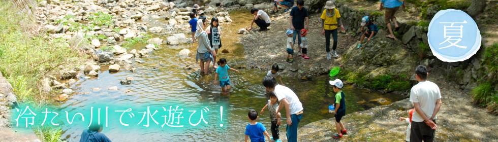 冷たい川で水遊び